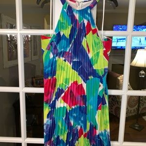 NWT Ralph Lauren A Line Trapeze Pleated Dress Neon